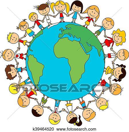 Clipart Niños Mundo Amistad Caricatura Cartel K39464520
