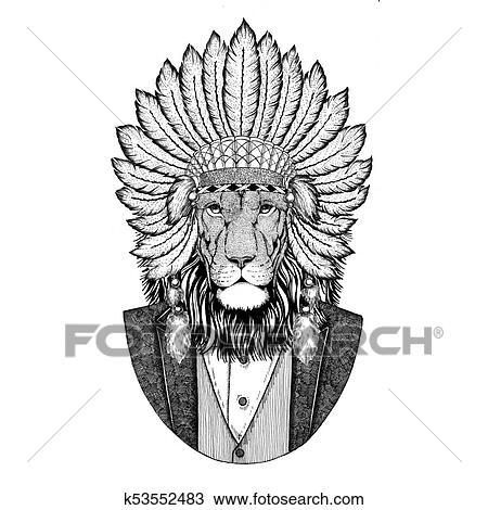 Dessin Sauvage Lion Fauve Porter Inidan Chapeau Robe Tete A