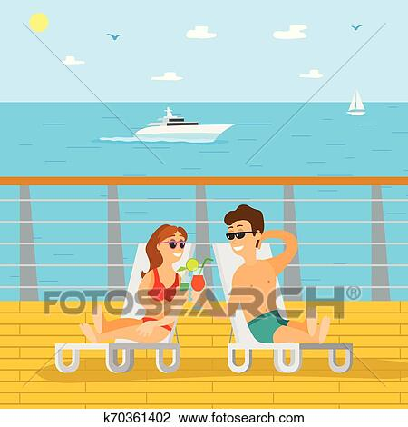 Couple Relaxing on Wooden Pier, Summer Vacation Clipart ...