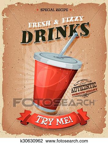 Grunge And Vintage Drinks And Beverage Poster Clipart