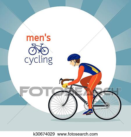 Clip Art Of Man In Protective Sportswear Cycling Road Bicycle