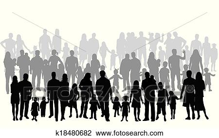 Profiles Of Large Family Clipart K18480682 Fotosearch