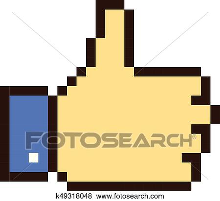 Thumb Up Pixel Art Cartoon Retro Game Style Clip Art
