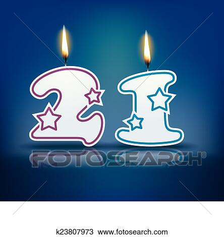 Clipart Of Birthday Candle Number 21 K23807973