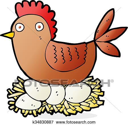 Caricatura Gallina En Huevos Clip Art K34830887 Fotosearch