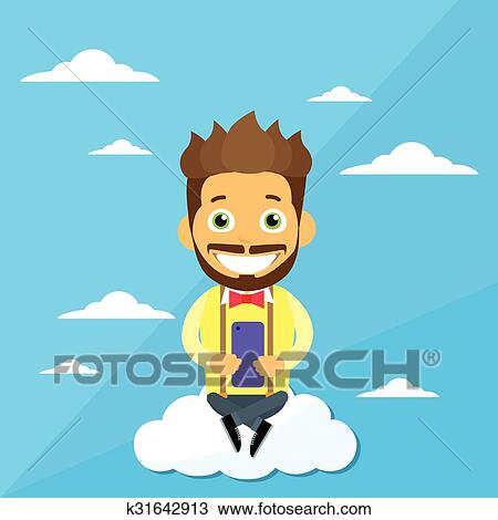 Cartoon Man Sitting On Clouds Use Cell Smart Phone Internet Communication Connection Concept Clipart K31642913 Fotosearch Welcome to r/sittingonclouds, the best place to download soundtracks from your favourite cartoons, anime and video games!. fotosearch