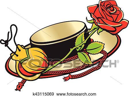 Espagne et espagnol culture espagnol chapeau castagnettes et rouges rose clipart - Dessin espagne ...