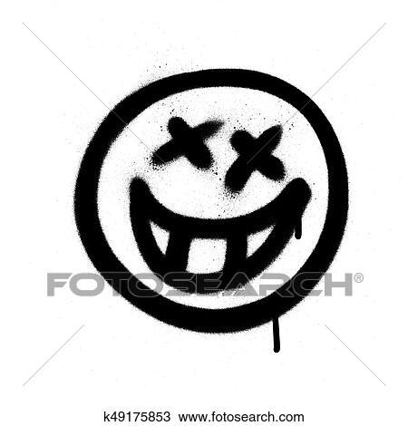 Graffiti Emoji A A Sourire Vaporise Dans Noir Blanc Clipart K49175853 Fotosearch