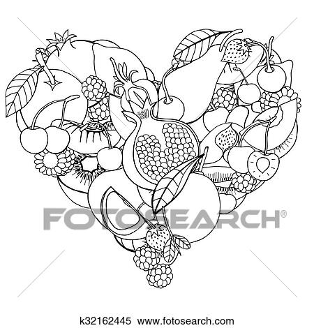 Clipart Of Heart From Healthy Fruit And Berry K32162445