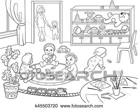 Ausmalbild Kinder Spielen