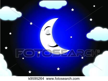 Luna cartone animato in pausa clipart k9595264 fotosearch