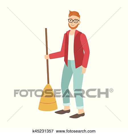 Man With Broom Sweeping The Floor Cartoon Adult Characters