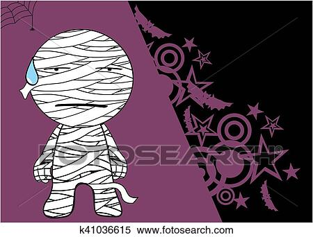 Mummia cartone animato halloween background clipart