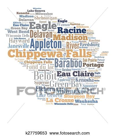 drawing of word cloud showing cities in wisconsin k27759653 search