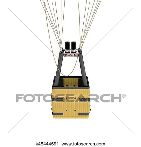 Clipart Of 3d Rendering Of An Air Balloon Basket With Gas Burners