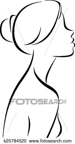 Dessin ligne de femmes profil clipart k25784520 fotosearch - Profil dessin ...