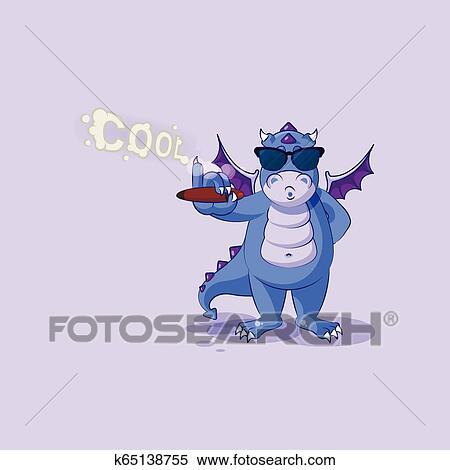 Dragon sticker emoticon, sunglasses, smoking cigar Clipart