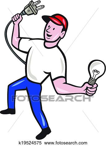 Clipart Of Electrician Hold Electric Plug And Bulb Cartoon K19524575