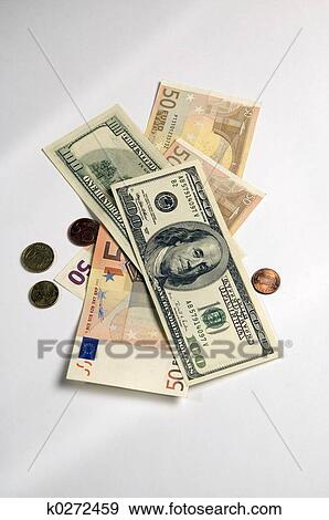Bank Notes Of Us Dollars And Euro