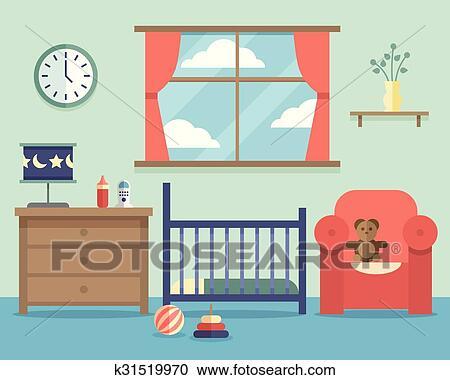Clipart - guardería infantil, bebé, habitación, interior, con ...
