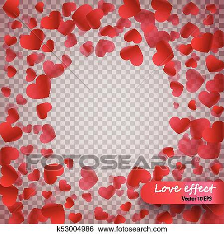 Clip Art Of Heart Confetti Of Valentines Petals Falling On