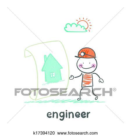 Clipart   Ingenieur, Aussehen, Dass, Malen, Haus. Fotosearch   Suche Clip