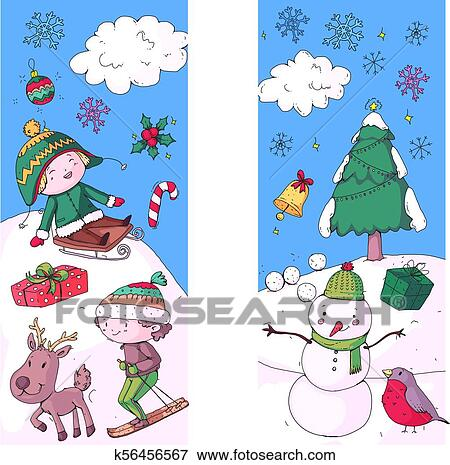 Christmas Celebration Images For Drawing.Merry Christmas Celebration With Children Kids Drawing Illustration With Ski Gifts Santa Claus Snowman Boys And Girls Play And Have Fun School