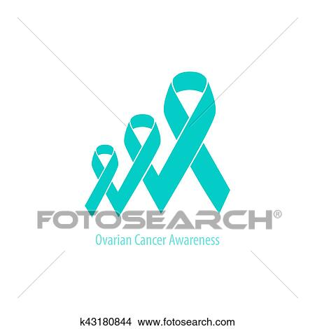Teal Ribbon Ovarian Cancer Stock Illustration K43180844 Fotosearch