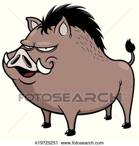 clipart of wild boar k19725251 search clip art illustration rh fotosearch com Wild Boar Hogs wild boar clip art free