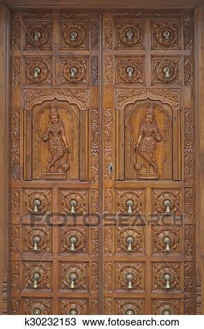 Carved wood hindu temple door stock image k30232153 fotosearch