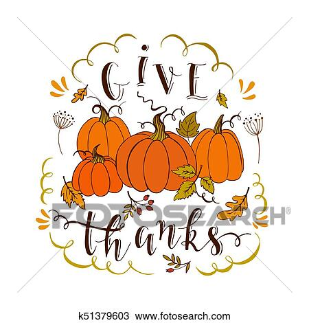Give Thanks Card Clipart K51379603 Fotosearch