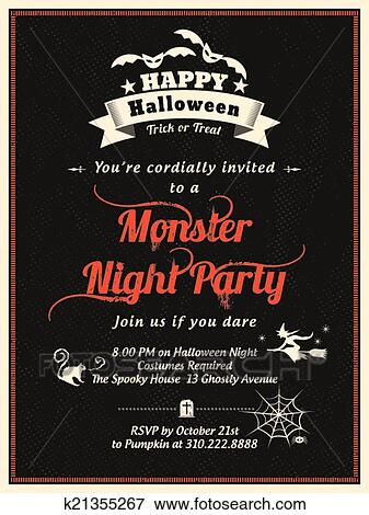 clip art of halloween party flyer template k21355267 search