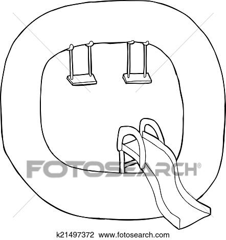 Clipart Of Letter Q Playground Outline K21497372 Search Clip Art