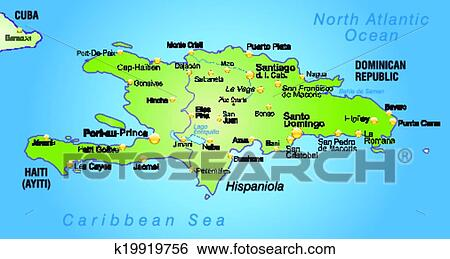 Clip Art Of Map Of Hispaniola K19919756 Search Clipart