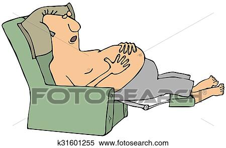 Terrific Shirtless Man Asleep In A Chair Stock Illustration Pdpeps Interior Chair Design Pdpepsorg