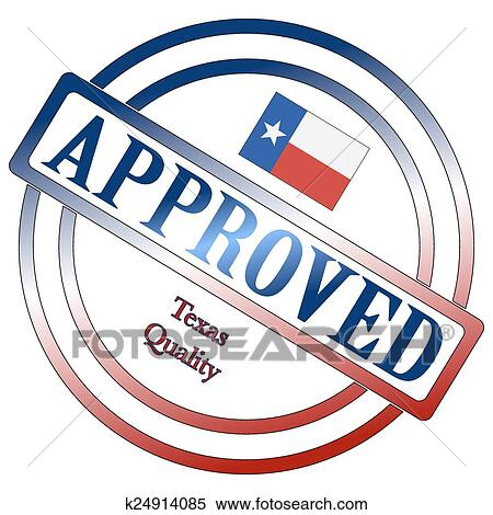 A Texas Seal Of Approval Isolated On White Background