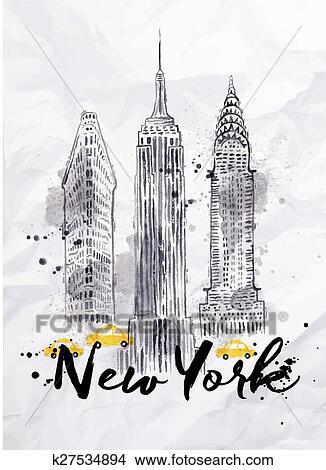 Clipart Watercolor New York Gebouwen K27534894 Zoek Clipart