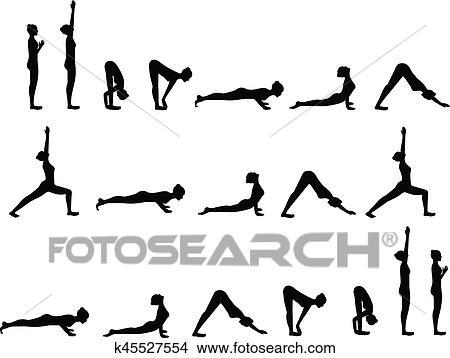 yoga postures sun salutation clipart  k45527554  fotosearch