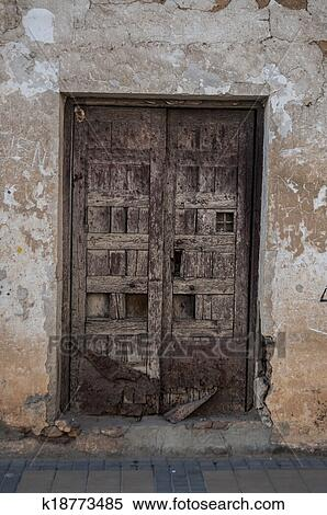 Stock Image   Ancient Door In Typical Spanish Street, Rural Scene.  Fotosearch   Search