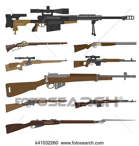 Arma De Fogo Set Arma Rifle Carbine Apartamento Desenho