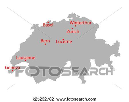Grey map of Switzerland Clipart | k25232782 | Fotosearch