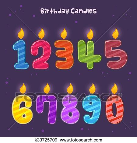 Group Of Numbers Birthday Candles Clip Art K33725709