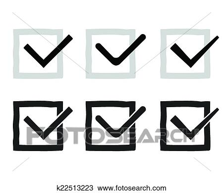 Clipart Of Hand Drawn Check Marks Or Ticks Confirm Icons Set