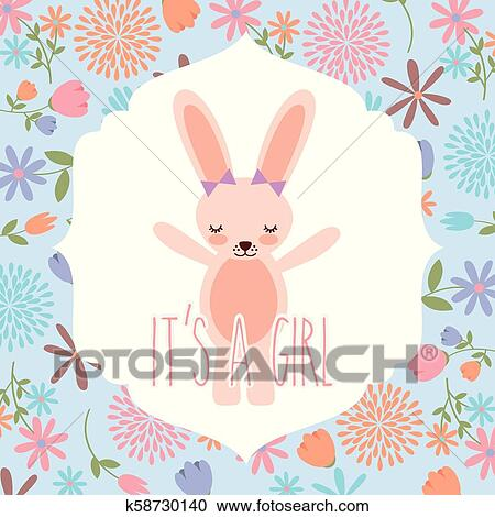 Pink Rabbit Wit Bow Baby Shower Its A Girl Clipart K58730140