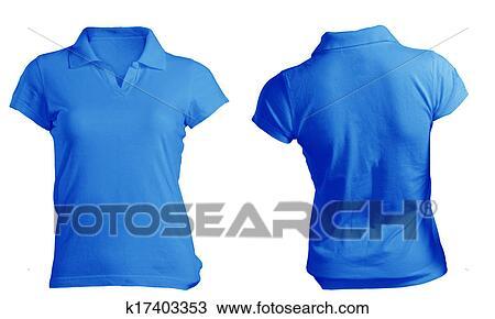 Women S Blank Blue Polo Shirt Template Stock Image
