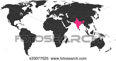 World map silhouette clip art clipart vector design clipart of world map with highlighted india k33077025 search clip rh fotosearch com flat world map gumiabroncs Choice Image