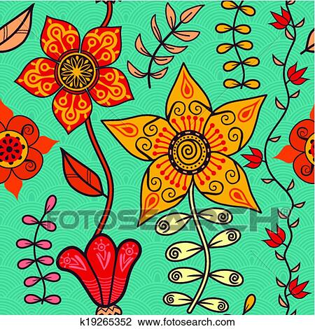 Abstract Floral Background Summer Theme Seamless Pattern Vector Wallpaper Summer Texture Wrapping With Flowers Spring And Summer Theme For Your