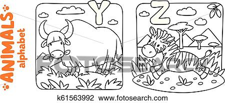 Animals alphabet or ABC. Coloring book set Clipart