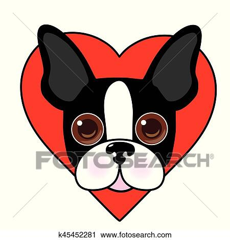clipart of boston terrier face k45452281 search clip art rh fotosearch com boston terrier clip art black and white boston terrier clip art black and white