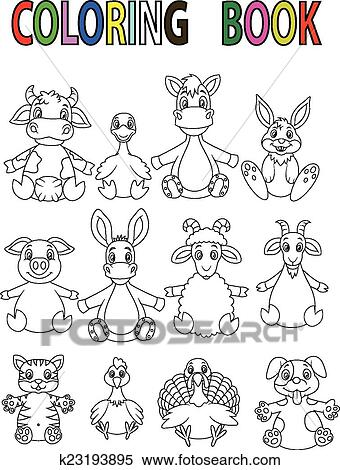 Clipart of Cartoon Farm animal coloring book k23193895 - Search Clip ...